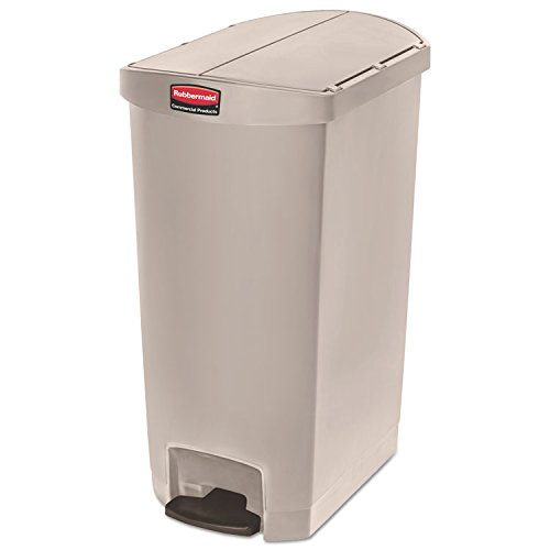 1883551 Rubbermaid Commercial Slim Jim 18G End Step Container - 18 gal Capacity - 30.8'' Height x 14.7'' Width - Resin, Poly, Plastic - Beige