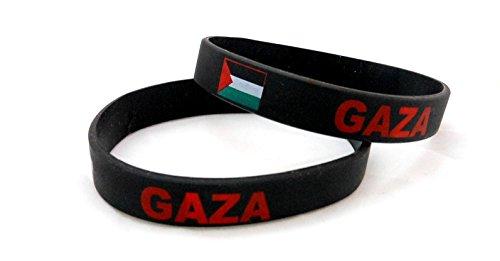 Gaza Palestine Unisex Silicone Bracelet Multicolor Country Flag Rubber Sport Fashion Wristband Cuff 8 Inches 20.2 Cm (Country Flag Silicone Bracelets)