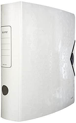 Leitz Active Archivador de Palanca A4, Blanco, Lomo Curvado de 75mm de Ancho, Cierre Elástico, Polyfoam Ligero, Gama WOW, 11060001