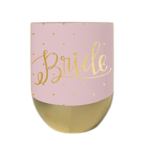 Bride Soft Pink Polka Dot 12 ounce Stainless Steel Stemless Wine Goblet with ()