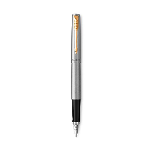 Parker Jotter Fountain Pen, Stainless Steel Body with Gold Trim, Medium Point, Blue Ink, Includes Gift Box