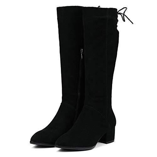 HAOLIEQUAN Westrn Stil Reißverschluss Frauen Stiefel Mode Ziper Square High Heel Schuhe Wildleder Größe 34-39    Qualitätskönigin
