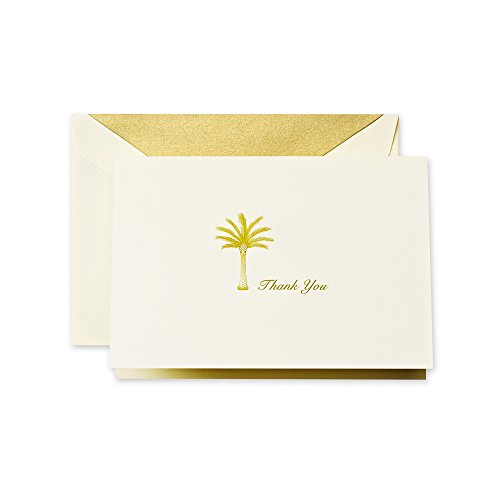 Crane & Co. Hand Engraved Palm Tree Thank You Note (CT1421) (Thank You Note After Receiving A Gift)