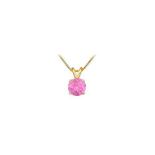 Pink Sapphire Vermeil Necklace (September Birthstone Created Pink Sapphire Pendant in 18K Yellow Gold Vermeil over 925)