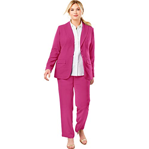 (Jessica London Women's Plus Size Single Breasted Pant Suit - Bright Berry, 18)
