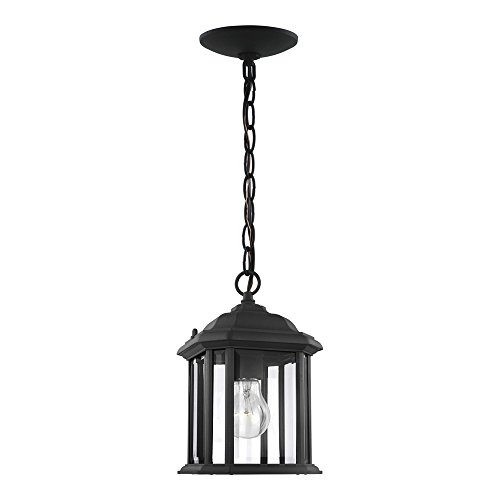 Sea Gull Lighting 60029-12 Kent One-Light Outdoor Semi-Flush Convertible Pendant with Clear Beveled Glass Panels, Black - Pendant Classic Exterior