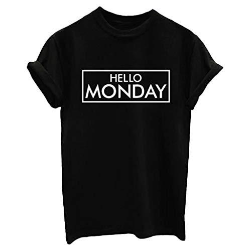 (Sunhusing Women's Letter Print Short Sleeve Top Leisure O-Neck Pullover T-Shirt Black)