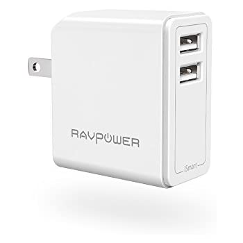 RAVPower Dual USB Wall Charger 24W 4.8A (2.4 A x 2) with Foldable Plug & iSmart Technology - White