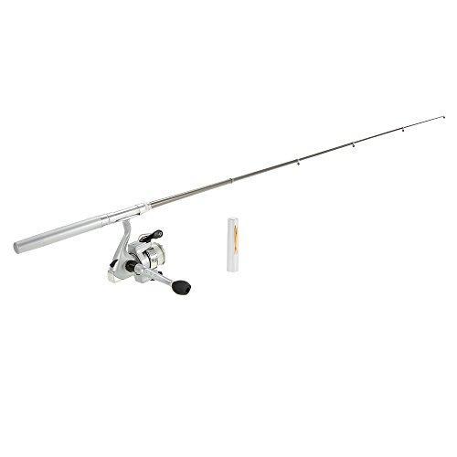 Docooler Mini Stift Angelrute/Feder Angelrute mit Angelrolle, Material: Aluminiumlegierung, Länge: 20cm-96.2cm Silber
