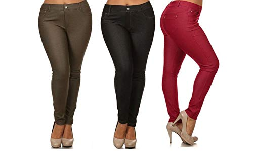 Yelete Women's Basic Five Pocket Stretch Jegging Tights Pants (3X, Black/Burgundy/ArmyGreen)