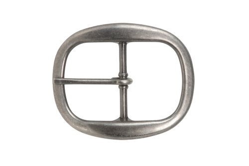- 1 1/2 Inch Nickel Free Center Bar Single Prong Oval Belt Buckle, Antique Silver