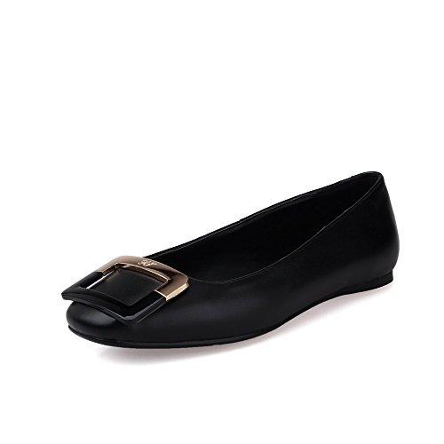 Allhqfashion Femmes En Peau De Mouton Sans Talon Rond Fermé Orteil Solide Tirer Sur Les Chaussures De Chaussures Noir