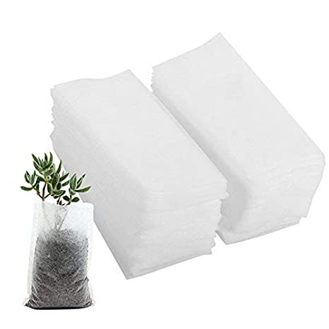 Amazon.com: 100pcs Bolsas de tela no tejida crecer plantas ...