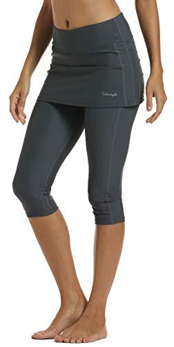 - Ubestyle UPF 50+ Women Swim Skirted Capris Active Athleic Leggings with Skirt Rungning Skort Sun Protective (Gray, S)