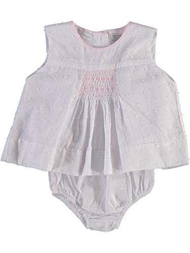 Baby Girl Diaper Set White Swiss Dot abd Oink Trimmed Dress and Diaper Cover - Hand Smocking