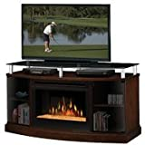 Dimplex Windham Flatpanel TV Stand and Electric Fireplace in Mocha – Logs
