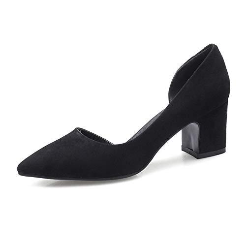 Noir ZHZNVX Chaussures Femme Daim Printemps Et Eté Confort Talons Chunky Heel Army Vert Rose Vin 37 EU