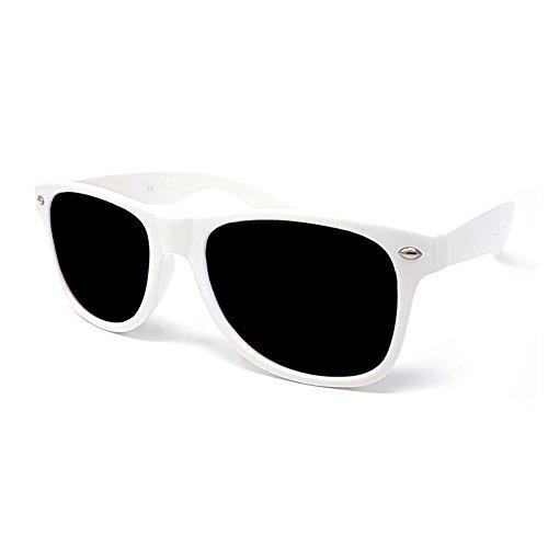 wayfarer Lunettes soleil blanc de solaire style avec unisexe protection noires lentilles UV400 unisexe wZ6rOqWw