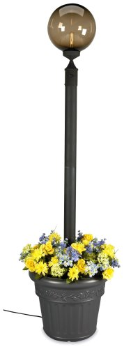 European 00480 Patio Lamp Black Body With Bronze Globe and Planter 85-inches Tall