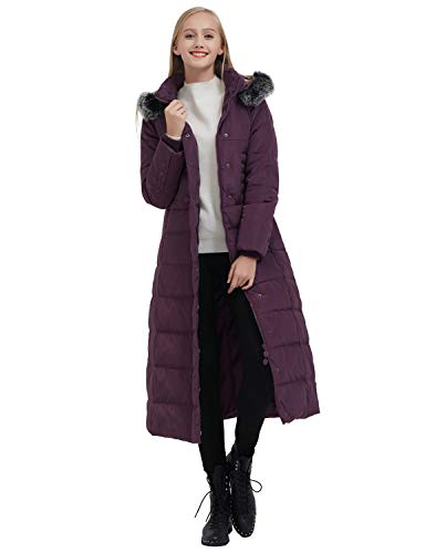 ilishop Women's Thickened Maxi Down Jackets- Hooded Long Down Jacket Winter Parka Puffer Coat (S, ()