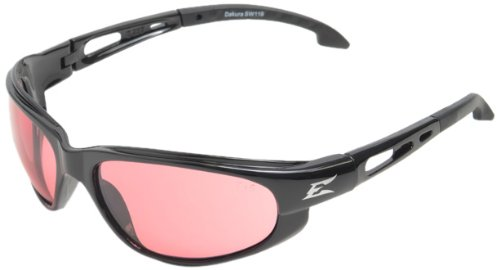 Edge Eyewear SW119 Dakura Safety Glasses, Black with Rose Mirror - Sunglasses Rose Lens