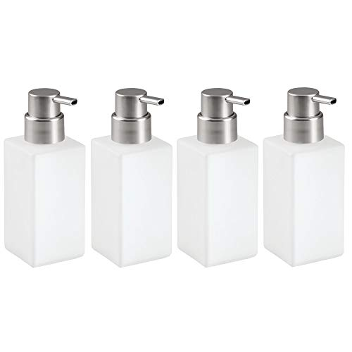 mDesign Foaming Soap Glass Dispenser Pump Bottle for Bathroom Vanities or Kitchen Sink, Countertops - Pack of 4, Square, - Square Soap Dispenser Nickel