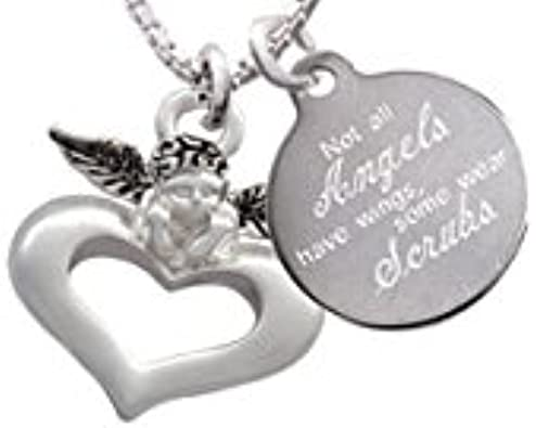 Delight Jewelry Large Maid of Honor Heart Angels Wear Scrubs Engraved Necklace
