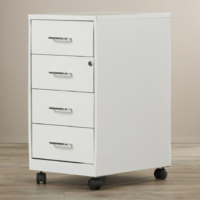 4 Drawer Steel Mobile File Cabinet Smooth Glide Contains Recycled Materials Eco-friendly Holds Letter and Legal-size Papper and Office Supplies by AVA Furniture