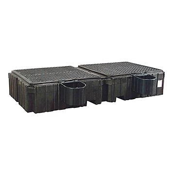New Pig PAK940 Twin Polyethylene IBC Spill Containment Pallet with Shelves, 16000 lbs Load Capacity, 124-19/32