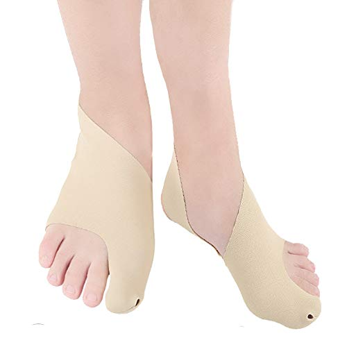 Bunion Corrector Splints and Bunion Relief Protector Sleeves Slim Bunion Toe Straightener with Natural, Treat Pain in Hallux Valgus, Big Toe Joint, Toe Separators, Easy Wear in Shoes (1 Pair) (L)