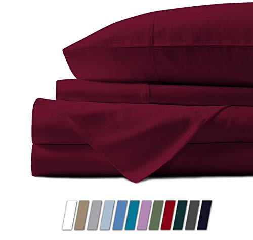 Mayfair Linen 100% Egyptian Cotton Sheets, Burgundy California King Sheets Set, 800 Thread Count Long Staple Cotton, Sateen Weave for Soft and Silky Feel, Fits Mattress Upto 18'' DEEP Pocket (Difference Between King And California King Bed Sheets)