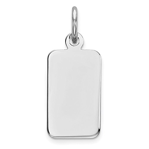 Sterling Silver Engraveable Rectangle Dog Tag Polished Front Disc Charm Pendant 19mm