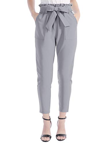 CHICIRIS Women's Straight Leg High Waist Skinny Pants with Pockets Light Gray Size L