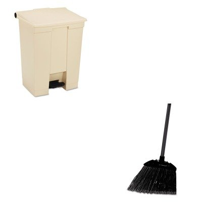 KITRCP614500BGRCP637400BLA - Value Kit - Rubbermaid Beige Fire Safe Plastic Step On Receptacle 18 Gallon (RCP614500BG) and Rubbermaid-Black Brute Angled Lobby Broom (RCP637400BLA) by Rubbermaid