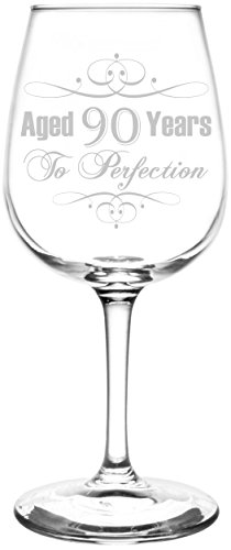 (90th) Aged To Perfection Elegant & Vintage Birthday Celebration Inspired - Laser Engraved 12.75oz Libbey All-Purpose Wine Taster Glass