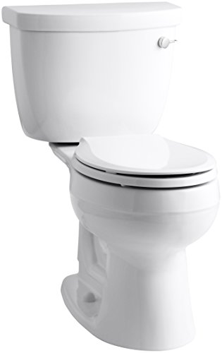 (KOHLER K-3887-UR-0 Cimarron Comfort Height Two-Piece Round-Front 1.28 Gpf Toilet with Aquapiston Flush Technology, Insuliner Tank Liner and Right-Hand Trip Lever, White)