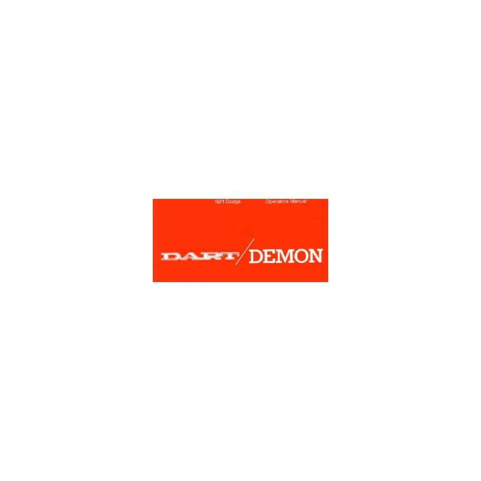 1971 DODGE DART DEMON Owners Manual User Guide Automotive