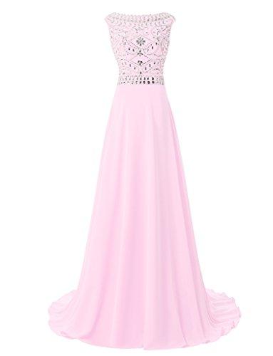 jydress femmes de perles une ligne en mousseline de soie robe Soirée Party robe de soirée 2016 -  rose - 46