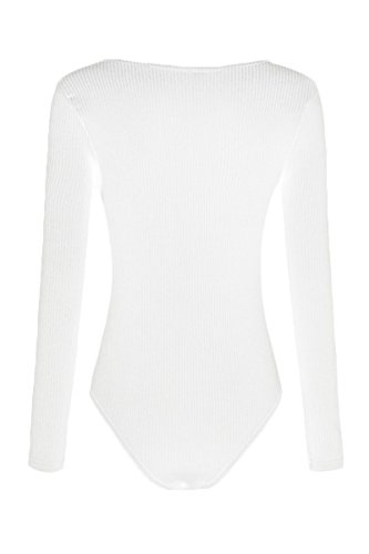 Sunfury White Bodysuit For Women, High Cut U Neck Snap Button Knitted Ribbed Long Sleeve Tight Leotard S by Sunfury (Image #4)