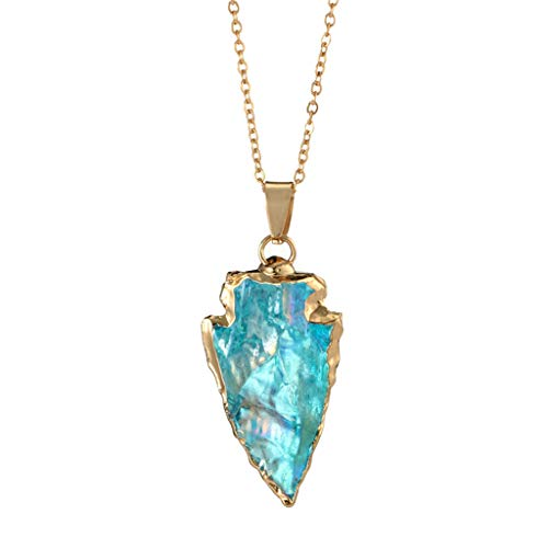 (DDKK Hot New Sale!!! Women Fashionable Colorful Stone Swarovski Crystal Unique Natural Gold Plated Forever Lover Heart Pendant Necklace Chain,Mother's Day/Anniversary/Birthday Girl Gift (Sky Blue))