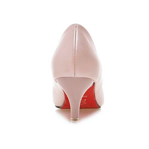 AllhqFashion Mujeres Puntera Redonda Tacón de aguja Sólido De salón con Ornamento Metal Rosa