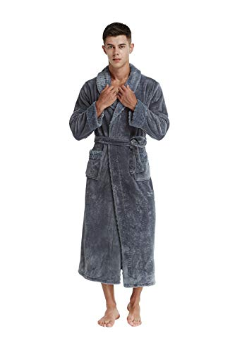 f9d595a833 TIMSOPHIA Firecos Men s Long Fleece Bath Robe- Soft Warm Robes for ...