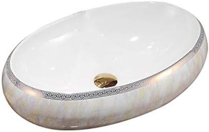 WJ 洗面台 (タップなし)バスルームの洗面台、楕円大理石セラミックカウンター流域バニティ単一流域、60X40X15cm /-/ (Size : 60X40X15cm)