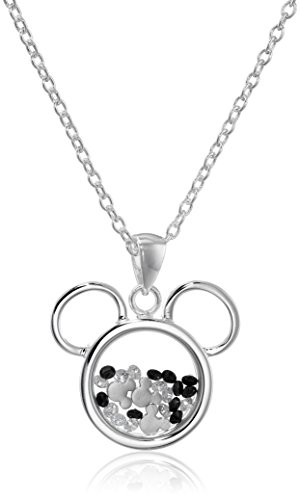Disney Silver Plated Mickey Mouse Silhouette Shaker Pendant Necklace