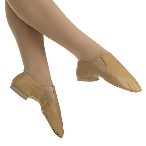 Danzcue Adult Leather Jazz Shoes, Tan, 7.5 M