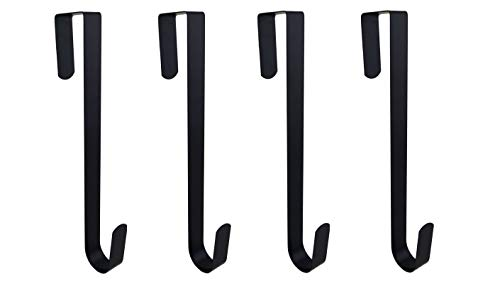 Ifavor123 Pack of 4 Black Metal 12 Inches in Length Over-The-Door Closet Door Hanger Hooks, Indoor Outdoor Wreath Hangers Multi-Purpose Home Décor Hanger