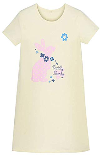 HOYMN Girls' Nightgowns & Sleep Shirts Cotton Sleepwear for Toddler 3-10 Years (4-5 Years, Pink Bunny) ()
