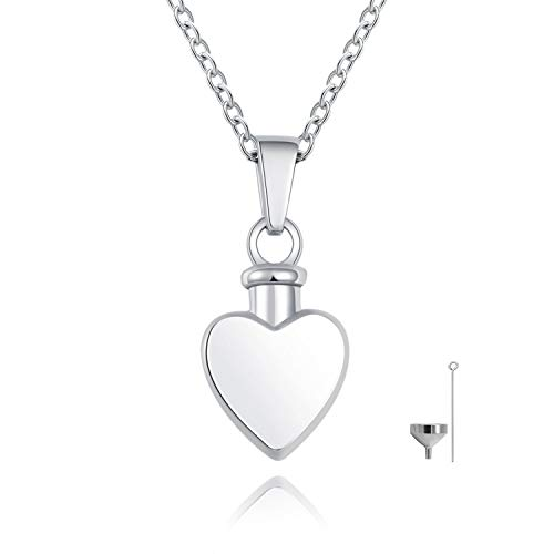 S925 Sterling Silver Classic Heart Cremation Jewelry Urn Pendant Necklace for Ashes Memorial Keepsake with Fill Kit & Gift Box ()