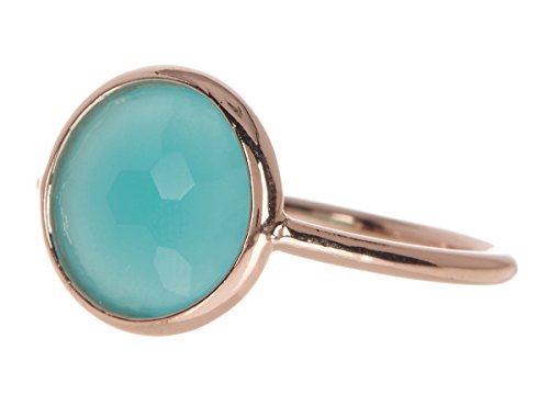 Gemstone Rose Gold Ring (Amazonite 18k Rose Gold Clad Wholesale Gemstone Jewelry Round Ring (9))