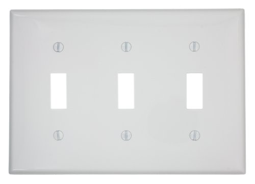 White Toggle Switchplate - Leviton 80711-W 3-Gang Toggle Device Switch Wallplate, White